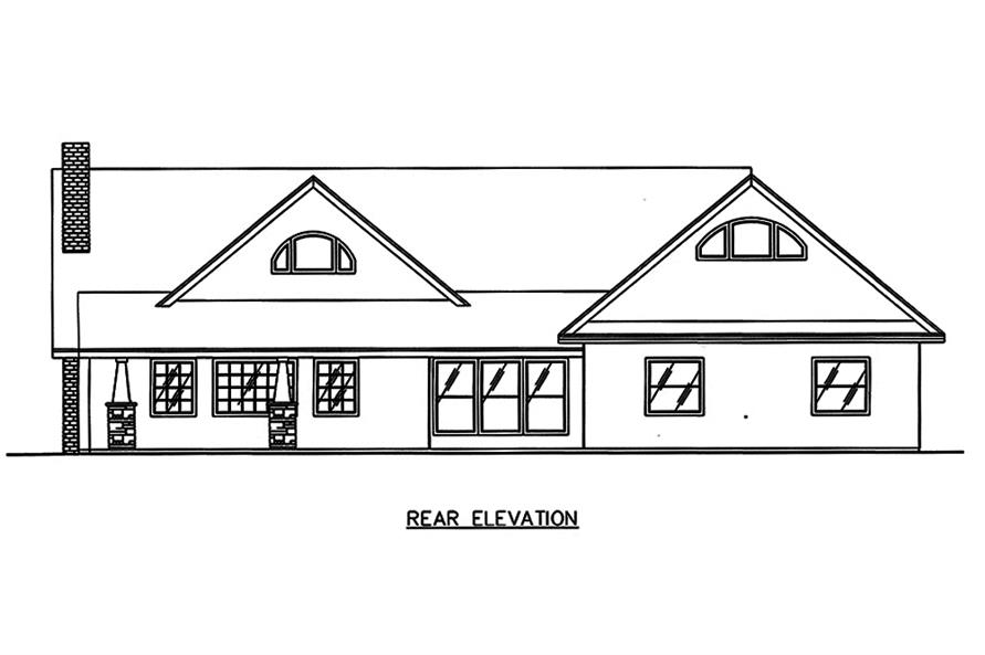 Home Plan Rear Elevation of this 2-Bedroom,4730 Sq Ft Plan -132-1651