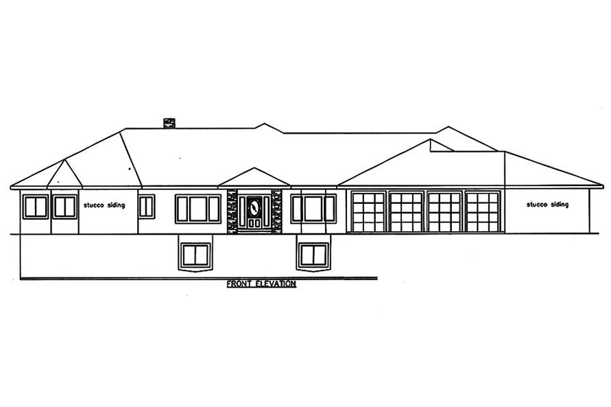 Home Plan Front Elevation of this 4-Bedroom,7871 Sq Ft Plan -132-1652