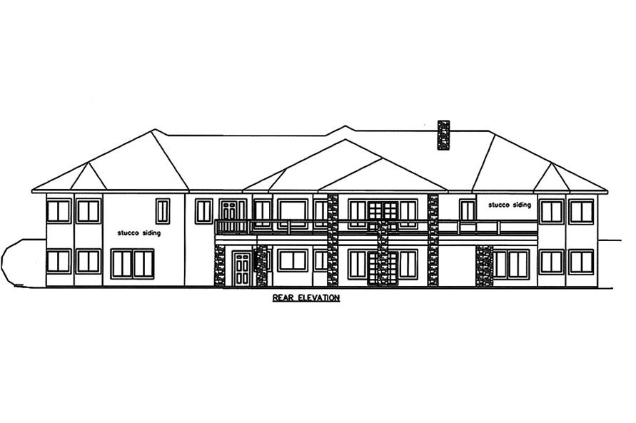 Home Plan Rear Elevation of this 4-Bedroom,7871 Sq Ft Plan -132-1652