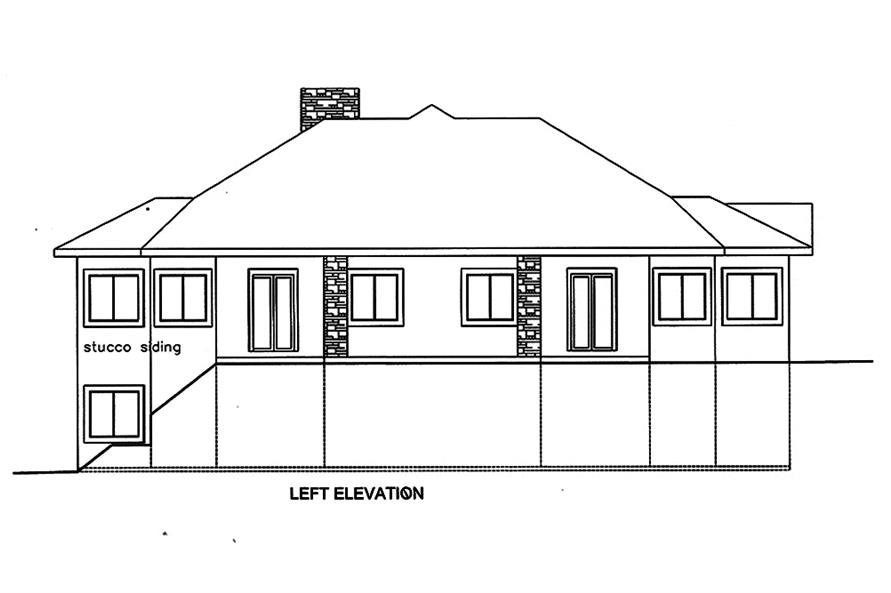Home Plan Left Elevation of this 4-Bedroom,7871 Sq Ft Plan -132-1652