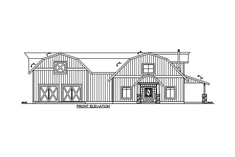 Home Plan Front Elevation of this 5-Bedroom,2875 Sq Ft Plan -132-1656