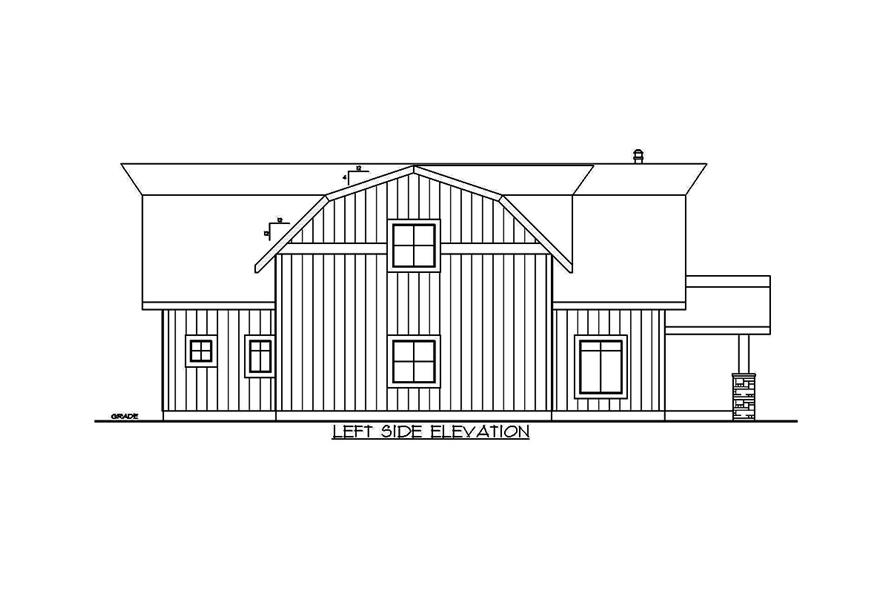 Home Plan Left Elevation of this 5-Bedroom,2875 Sq Ft Plan -132-1656