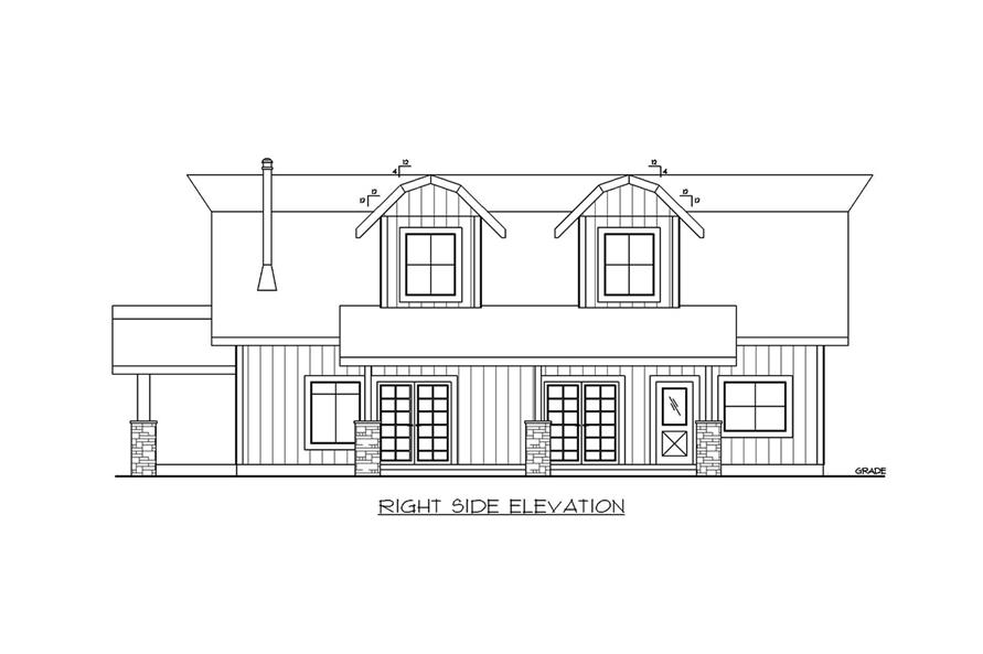 Home Plan Right Elevation of this 5-Bedroom,2875 Sq Ft Plan -132-1656