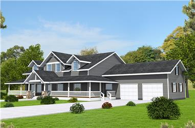 3-Bedroom, 3727 Sq Ft Country House Plan - 132-1658 - Front Exterior