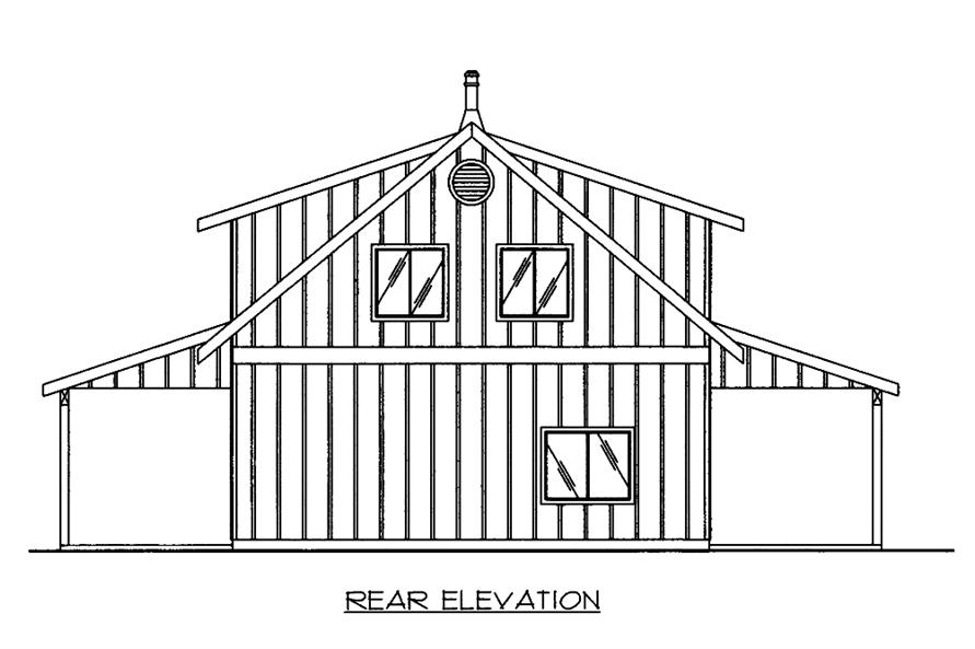 Home Plan Rear Elevation of this 2-Bedroom,1978 Sq Ft Plan -132-1666