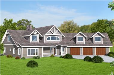 3-Bedroom, 3707 Sq Ft Craftsman Home Plan - 132-1667 - Main Exterior