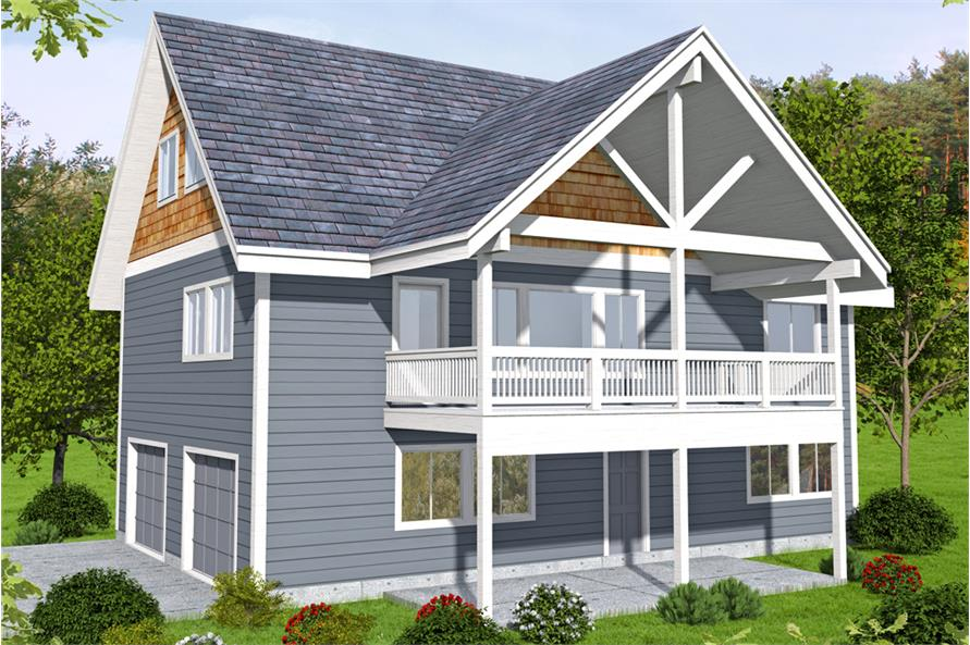 2-Bedroom, 2275 Sq Ft Log Cabin House Plan - 132-1674 - Front Exterior