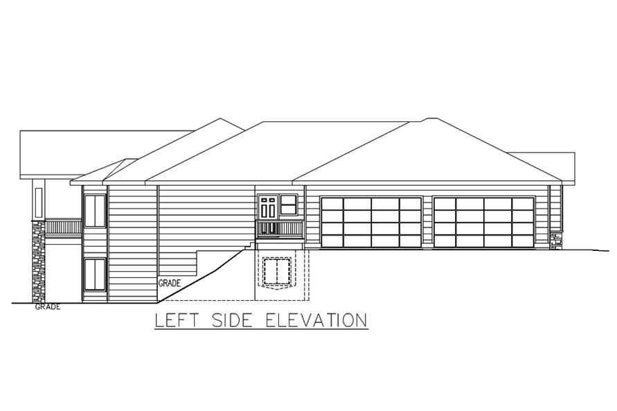 Home Plan Left Elevation of this 3-Bedroom,2838 Sq Ft Plan -132-1678