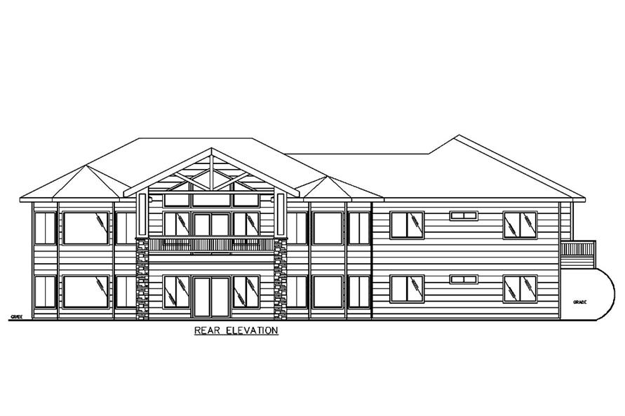 Home Plan Rear Elevation of this 3-Bedroom,2838 Sq Ft Plan -132-1678