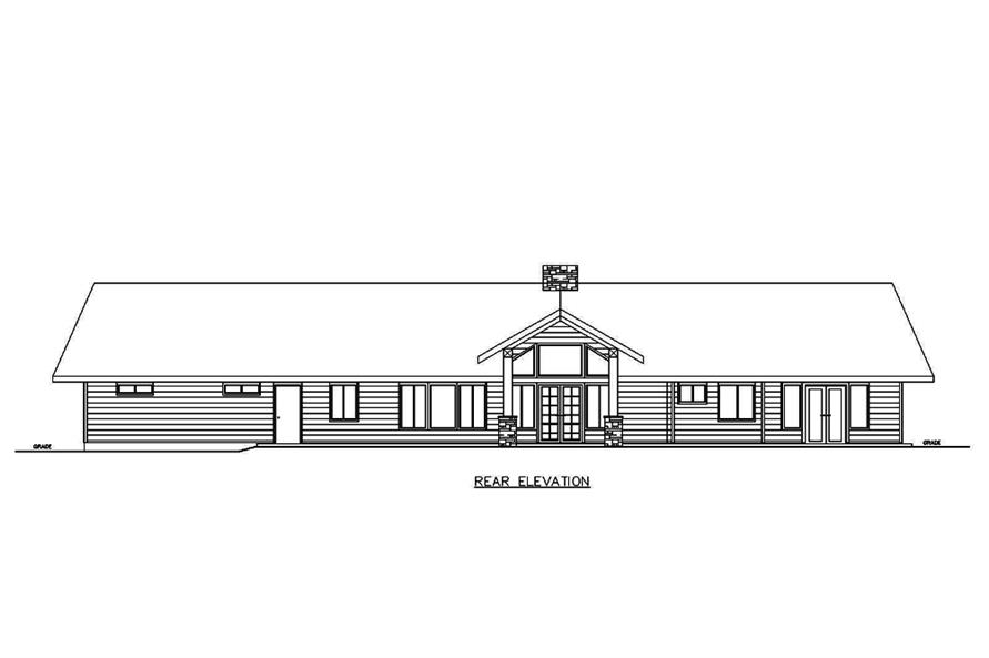 Home Plan Rear Elevation of this 2-Bedroom,1890 Sq Ft Plan -132-1680