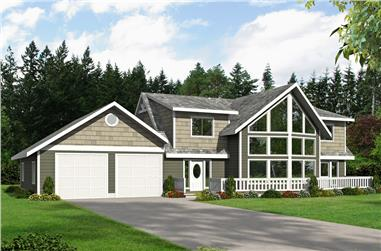 Front elevation of Craftsman home (ThePlanCollection: House Plan #132-1685)