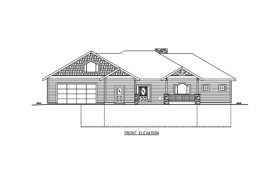 Home Plan Front Elevation of this 5-Bedroom,3628 Sq Ft Plan -132-1686