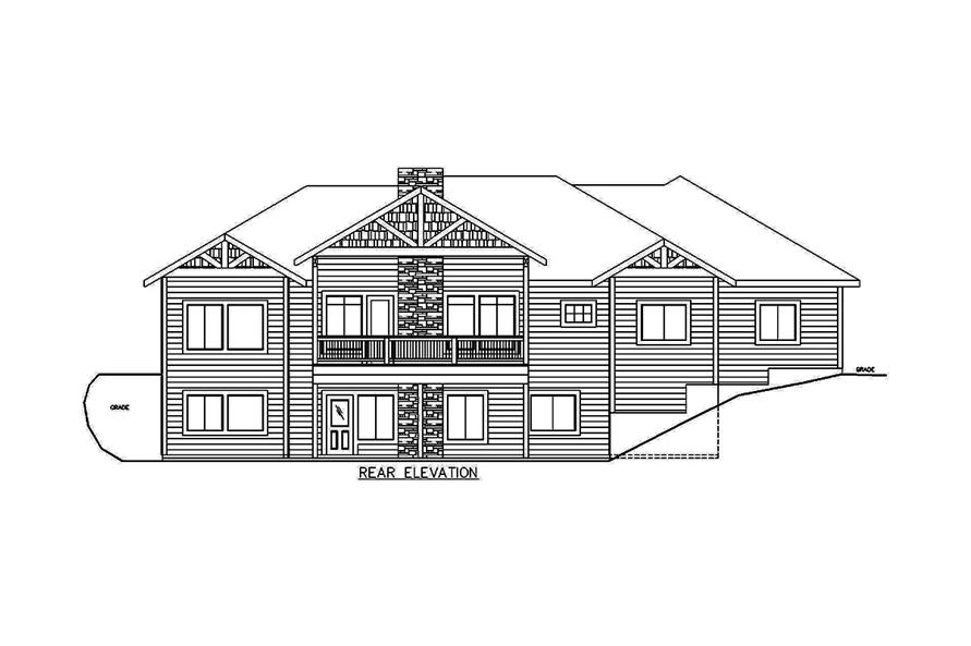 Home Plan Rear Elevation of this 5-Bedroom,3628 Sq Ft Plan -132-1686