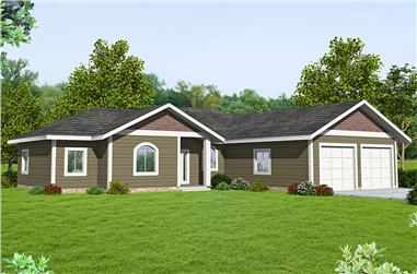 Front elevation of Cottage home (ThePlanCollection: House Plan #132-1690)