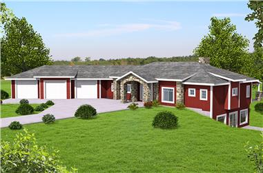 3-Bedroom, 3702 Sq Ft Country Home Plan - 132-1692 - Main Exterior