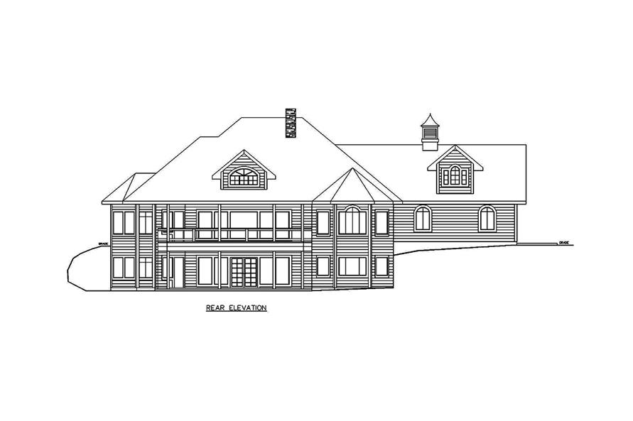 Home Plan Rear Elevation of this 5-Bedroom,3692 Sq Ft Plan -132-1695