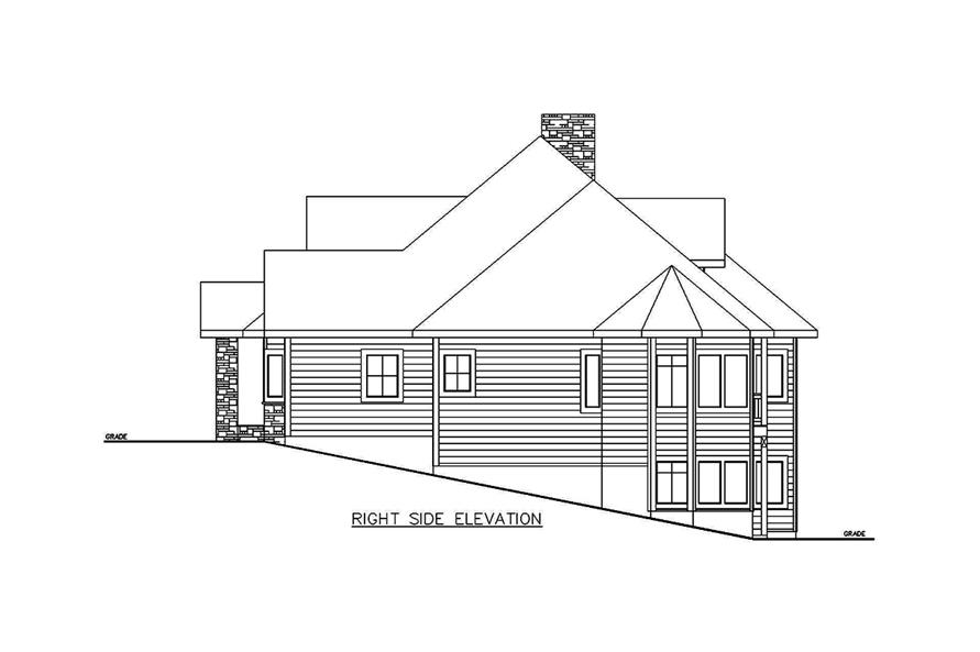 Home Plan Right Elevation of this 5-Bedroom,3692 Sq Ft Plan -132-1695