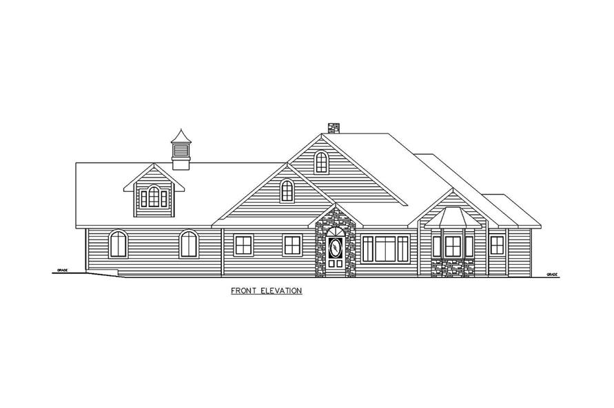 Home Plan Front Elevation of this 5-Bedroom,3692 Sq Ft Plan -132-1695