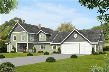 3-Bedroom, 3491 Sq Ft Country House Plan - 132-1696 - Front Exterior