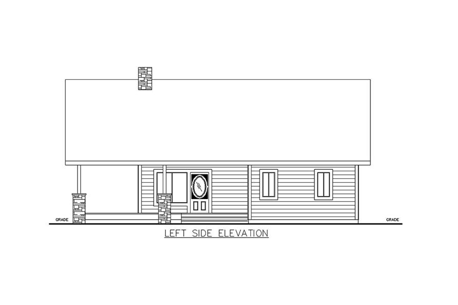 Home Plan Left Elevation of this 2-Bedroom,1176 Sq Ft Plan -132-1697