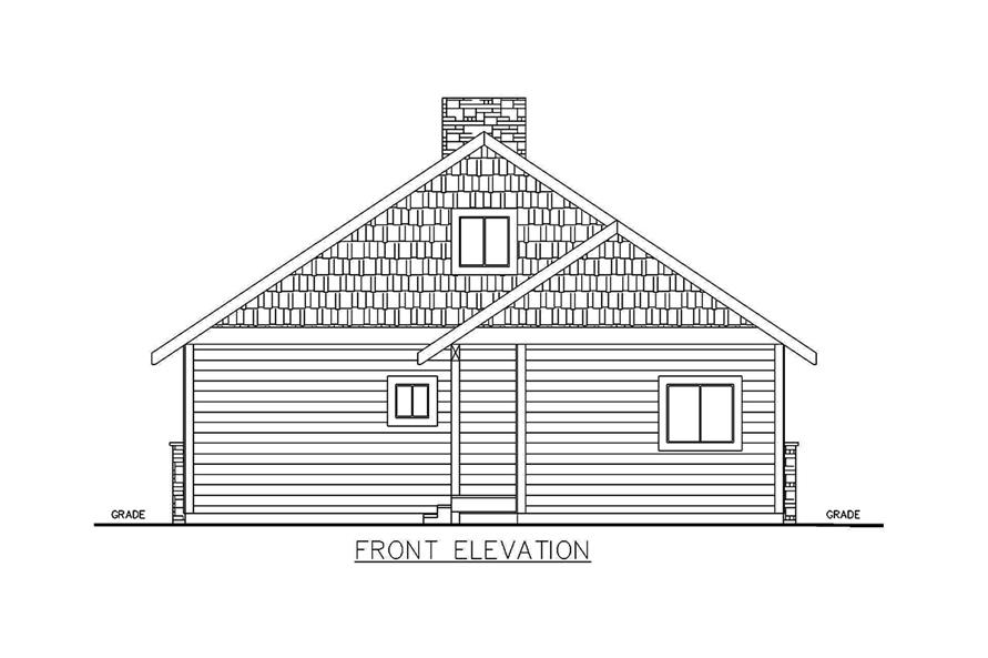 Home Plan Front Elevation of this 2-Bedroom,1176 Sq Ft Plan -132-1697