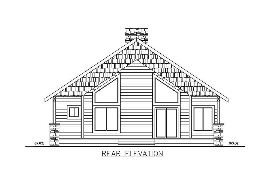 Home Plan Rear Elevation of this 2-Bedroom,1176 Sq Ft Plan -132-1697