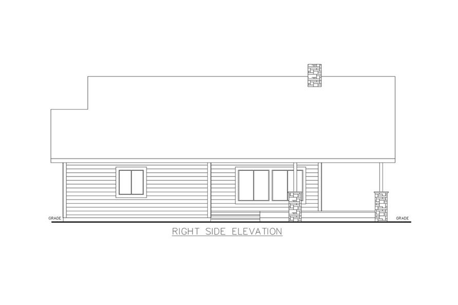 Home Plan Right Elevation of this 2-Bedroom,1176 Sq Ft Plan -132-1697