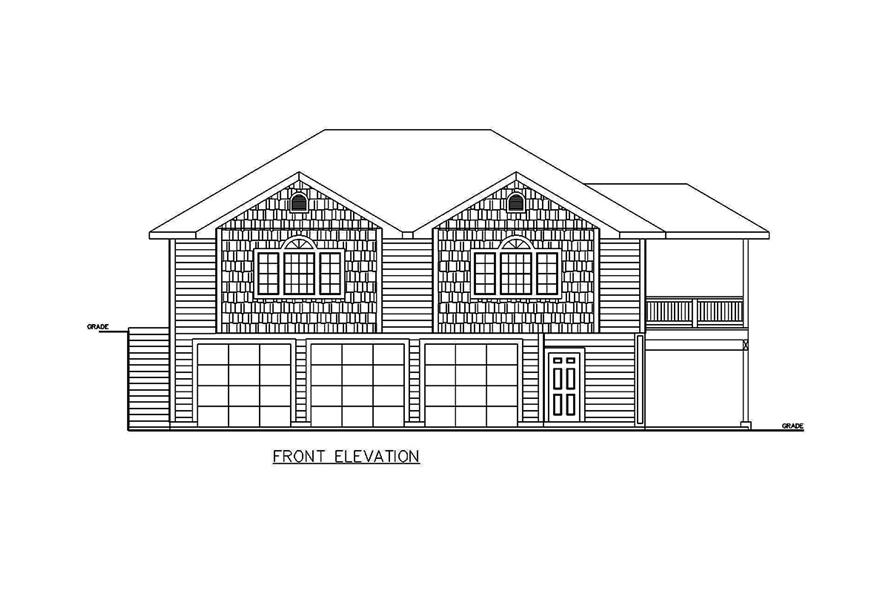 Home Plan Front Elevation of this 2-Bedroom,1336 Sq Ft Plan -132-1698