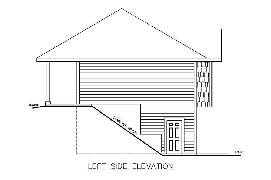 Home Plan Left Elevation of this 2-Bedroom,1336 Sq Ft Plan -132-1698