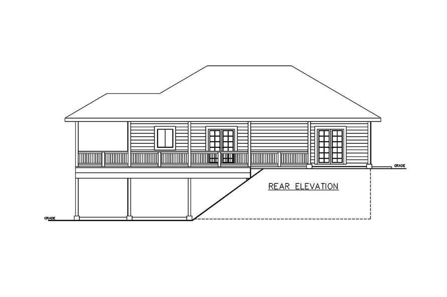 Home Plan Rear Elevation of this 2-Bedroom,1336 Sq Ft Plan -132-1698