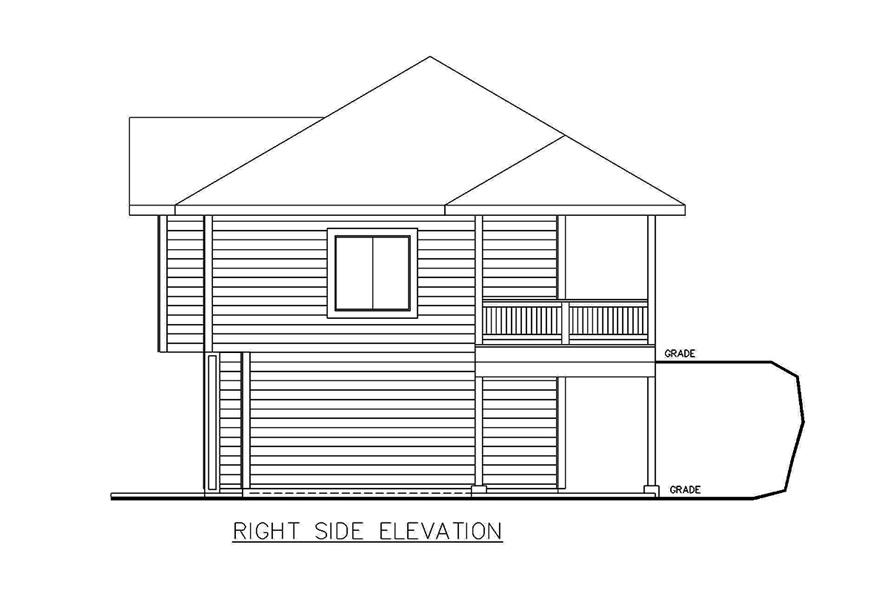 Home Plan Right Elevation of this 2-Bedroom,1336 Sq Ft Plan -132-1698