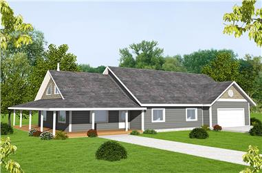 Front elevation of Ranch home (ThePlanCollection: House Plan #132-1702)