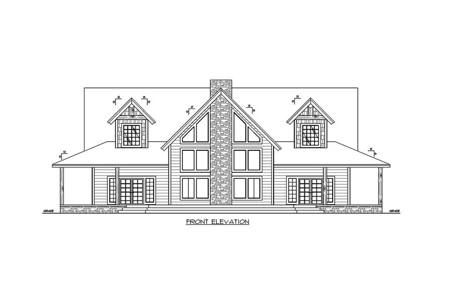 Home Plan Front Elevation of this 3-Bedroom,3967 Sq Ft Plan -132-1703