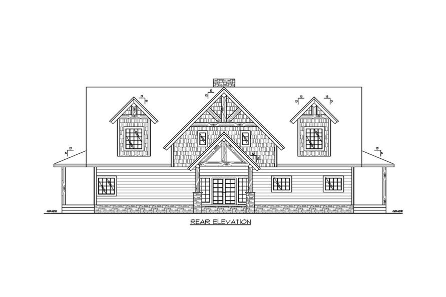Home Plan Rear Elevation of this 3-Bedroom,3967 Sq Ft Plan -132-1703