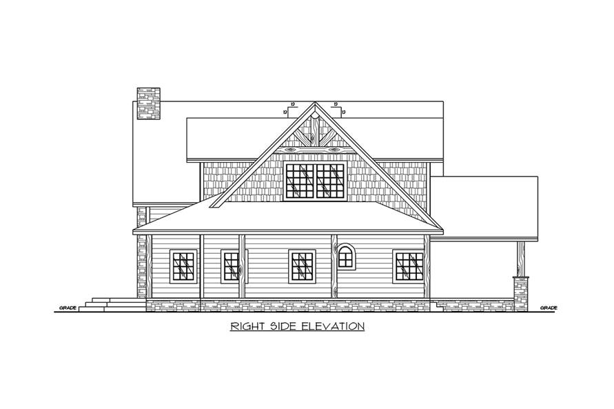 Home Plan Right Elevation of this 3-Bedroom,3967 Sq Ft Plan -132-1703