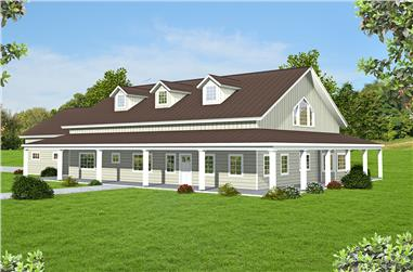 Front elevation of Ranch home (ThePlanCollection: House Plan #132-1706)