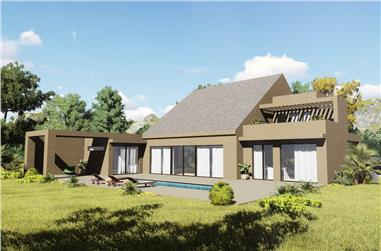 Color rendering of Contemporary home plan (ThePlanCollection: House Plan #132-1708)