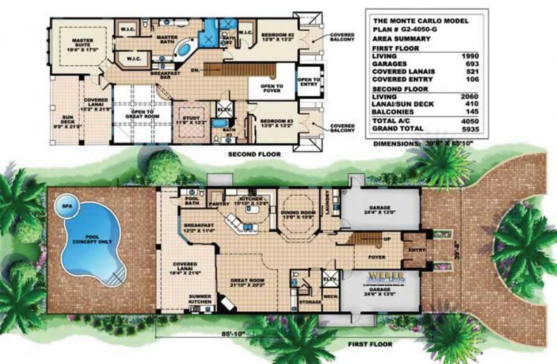 Narrow lot house plans home design wdgg2 4020 g for Narrow lot house plans