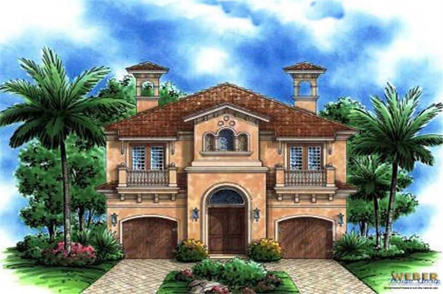 3-Bedroom, 4050 Sq Ft Spanish House Plan - 133-1005 - Front Exterior