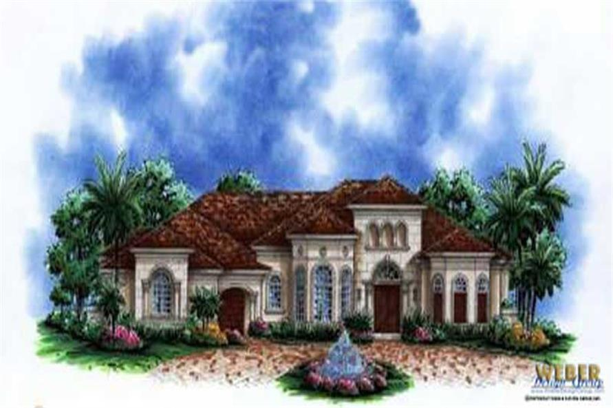 4-Bedroom, 3870 Sq Ft Tuscan Home Plan - 133-1007 - Main Exterior