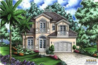 2-Bedroom, 4541 Sq Ft Florida Style Home Plan - 133-1009 - Main Exterior