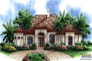 4-Bedroom, 3337 Sq Ft Mediterranean House Plan - 133-1012 - Front Exterior
