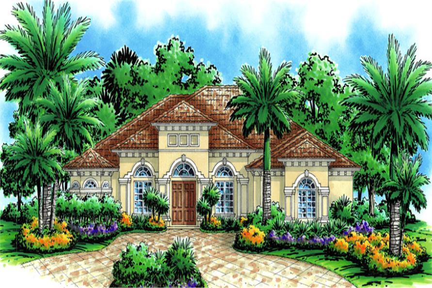4-Bedroom, 3098 Sq Ft Mediterranean Home Plan - 133-1013 - Main Exterior