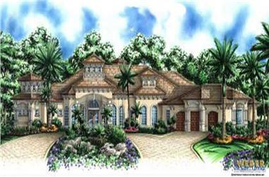 4-Bedroom, 4173 Sq Ft Mediterranean House Plan - 133-1014 - Front Exterior