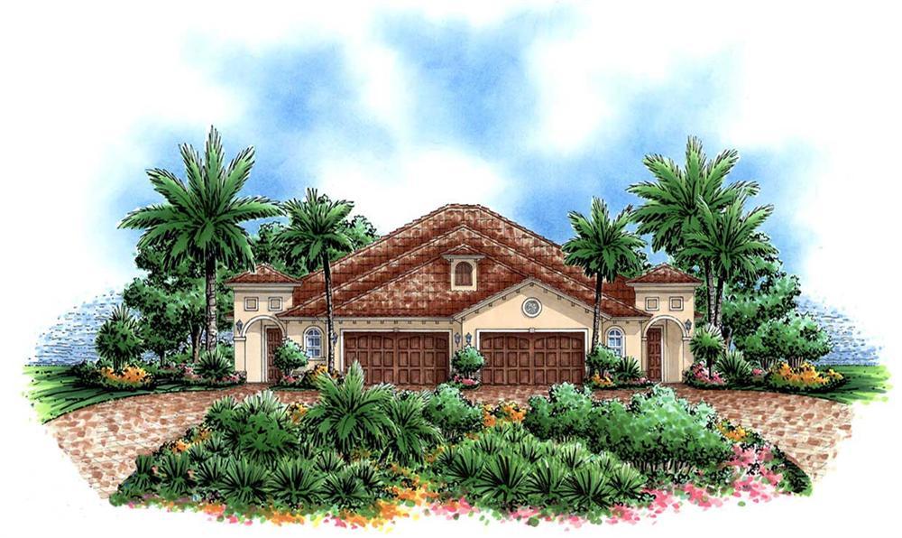 Mediterranean house plans color rendering front elevation.