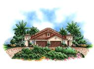 Mediterranean house plans color rendering front elevation.