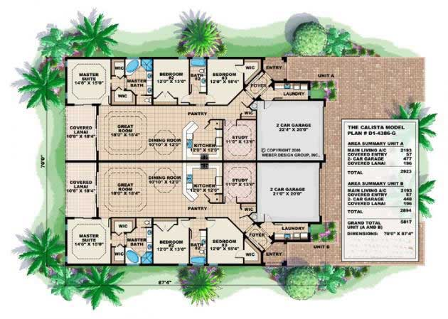 Floor Plans for these Duplex house plans and Mediterranean house plans.