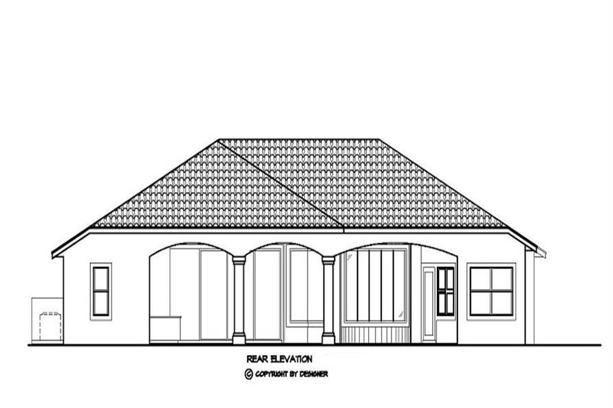 Home Plan Rear Elevation of this 3-Bedroom,3200 Sq Ft Plan -133-1017