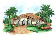 Florida house plans color elevation.