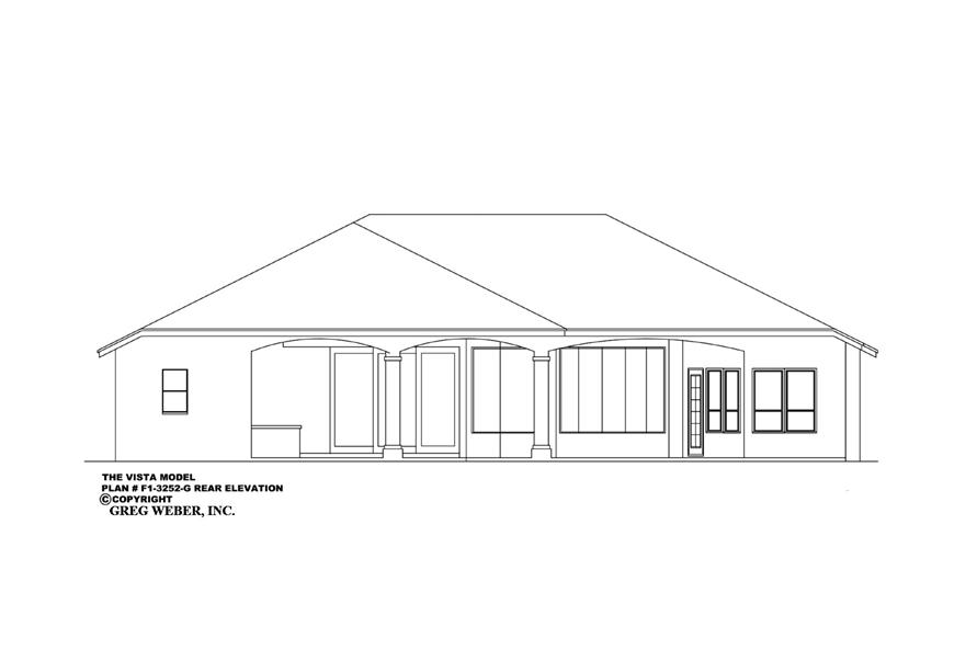 Home Plan Rear Elevation of this 4-Bedroom,3252 Sq Ft Plan -133-1019